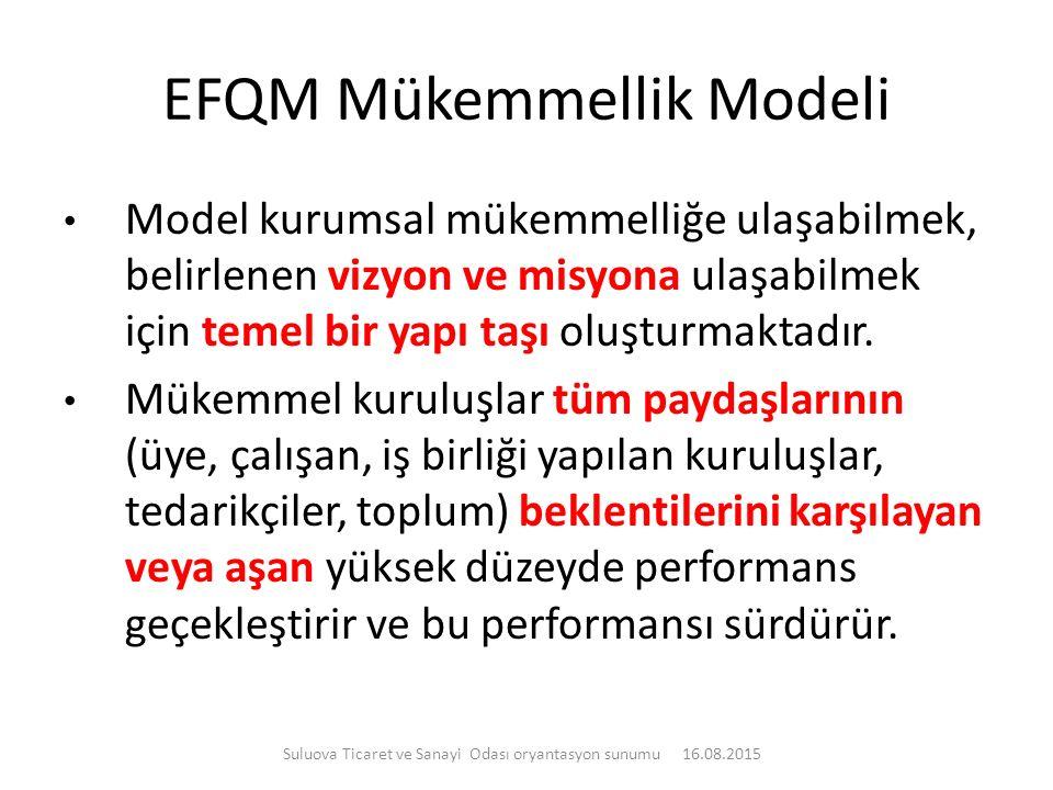 EFQM Mükemmellik Modeli Model kurumsal mükemmelliğe ulaşabilmek, belirlenen vizyon ve misyona ulaşabilmek için temel bir yapı taşı oluşturmaktadır. Mü