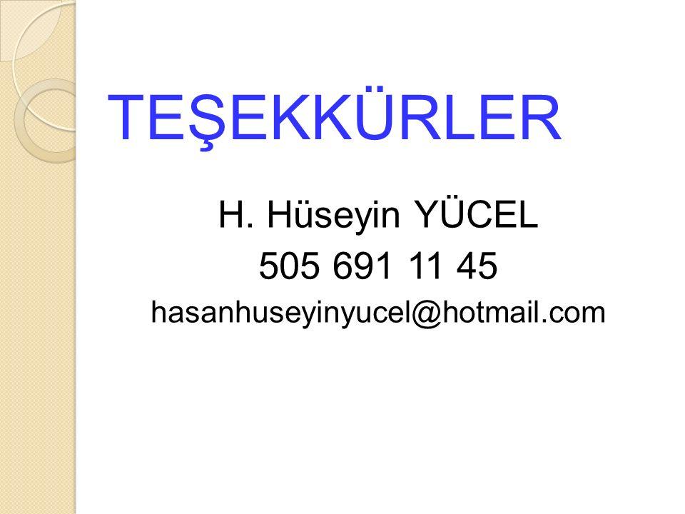 TEŞEKKÜRLER H. Hüseyin YÜCEL 505 691 11 45 hasanhuseyinyucel@hotmail.com