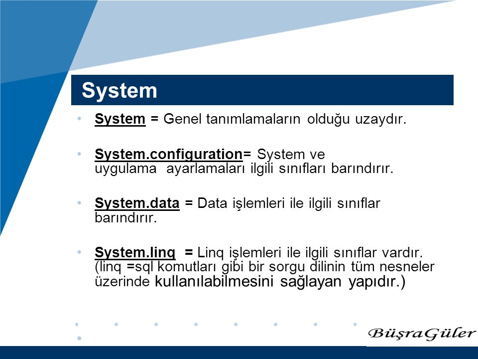 www.company.com System System = Genel tanımlamaların olduğu uzaydır.