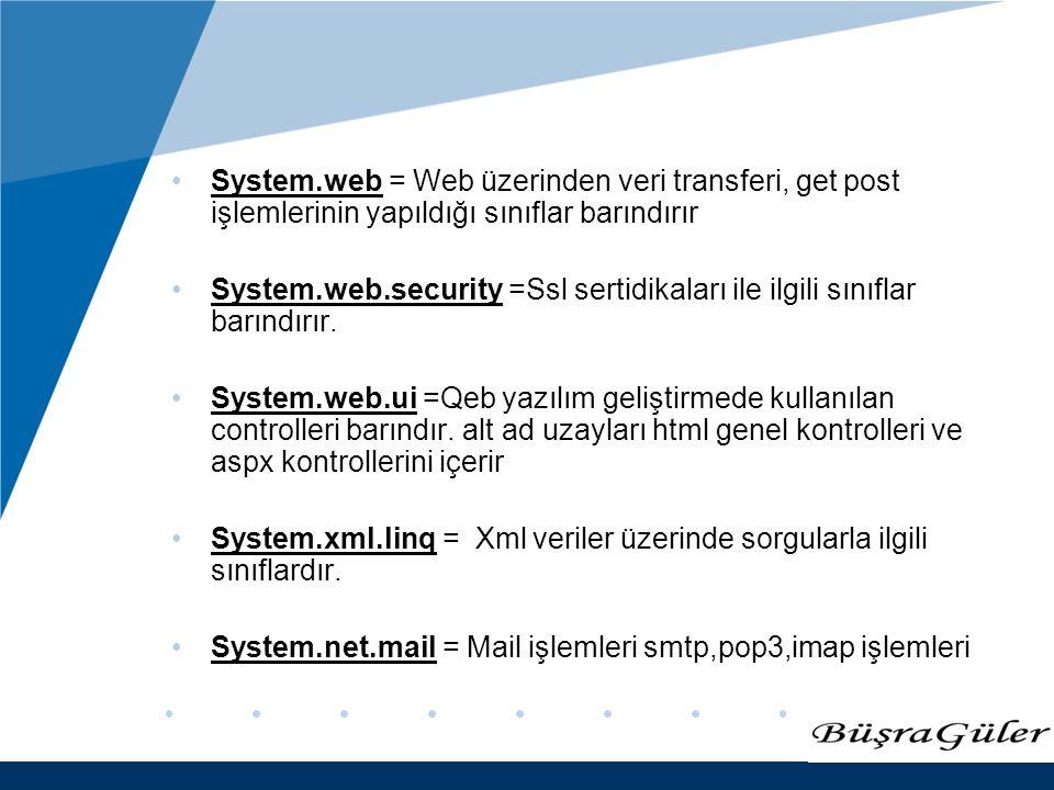 www.company.com System.web = Web üzerinden veri transferi, get post işlemlerinin yapıldığı sınıflar barındırır System.web.security =Ssl sertidikaları ile ilgili sınıflar barındırır.