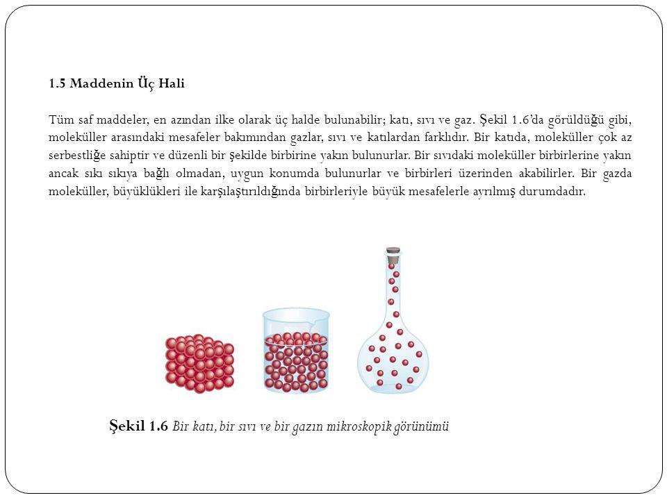 1.5 Maddenin Üç Hali Tüm saf maddeler, en azından ilke olarak üç halde bulunabilir; katı, sıvı ve gaz.