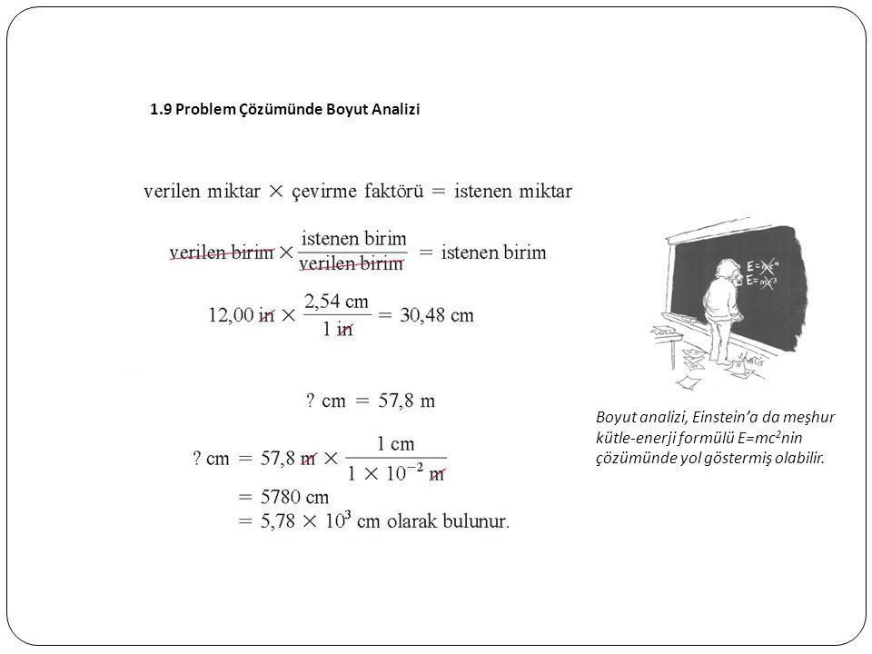 1.9 Problem Çözümünde Boyut Analizi Boyut analizi, Einstein'a da meşhur kütle-enerji formülü E=mc 2 nin çözümünde yol göstermiş olabilir.