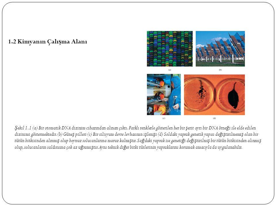 1.2 Kimyanın Çalı ş ma Alanı Ş ekil 1.1 (a) Bir otomatik DNA dizinim cihazından alınan çıktı.