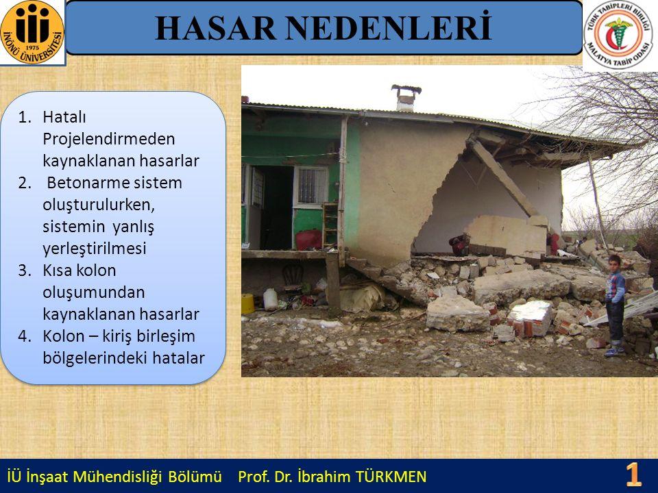 İÜ İnşaat Mühendisliği Bölümü Prof. Dr. İbrahim TÜRKMEN HASAR NEDENLERİ 1.Hatalı Projelendirmeden kaynaklanan hasarlar 2. Betonarme sistem oluşturulur
