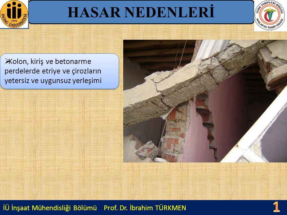 İÜ İnşaat Mühendisliği Bölümü Prof. Dr. İbrahim TÜRKMEN HASAR NEDENLERİ  Kolon, kiriş ve betonarme perdelerde etriye ve çirozların yetersiz ve uyguns