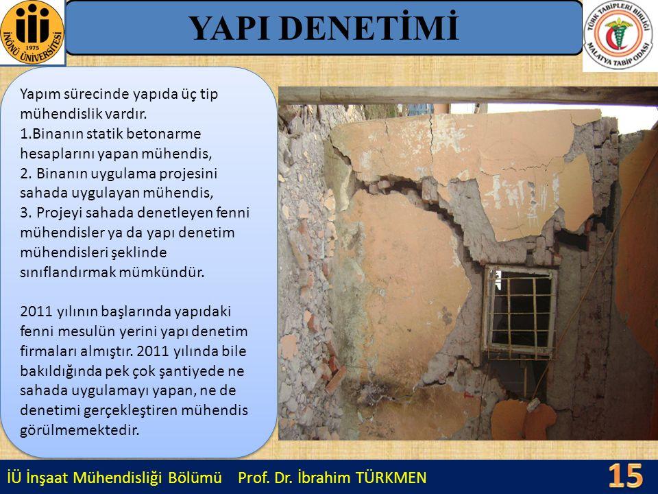 İÜ İnşaat Mühendisliği Bölümü Prof. Dr. İbrahim TÜRKMEN YAPI DENETİMİ Yapım sürecinde yapıda üç tip mühendislik vardır. 1.Binanın statik betonarme hes