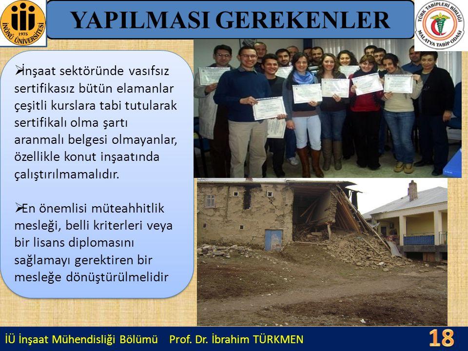 İÜ İnşaat Mühendisliği Bölümü Prof. Dr. İbrahim TÜRKMEN YAPILMASI GEREKENLER  İnşaat sektöründe vasıfsız sertifikasız bütün elamanlar çeşitli kurslar