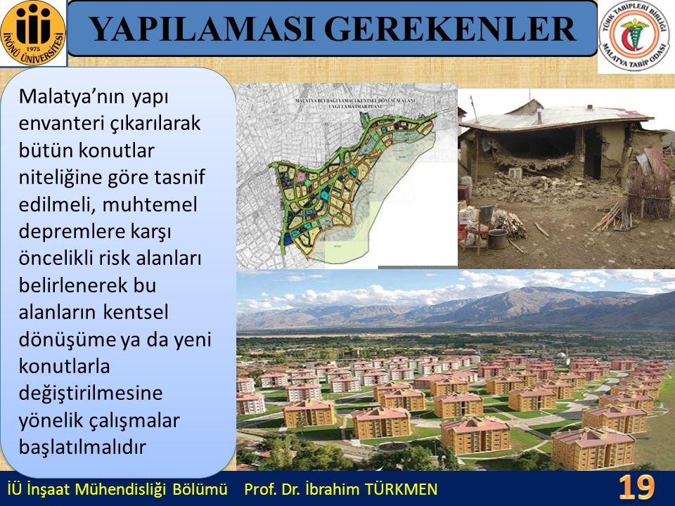 İÜ İnşaat Mühendisliği Bölümü Prof. Dr. İbrahim TÜRKMEN YAPILAMASI GEREKENLER Malatya'nın yapı envanteri çıkarılarak bütün konutlar niteliğine göre ta