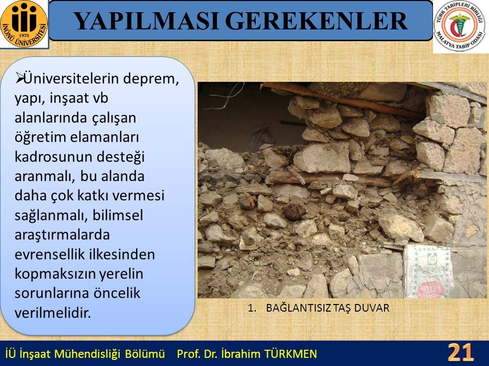 İÜ İnşaat Mühendisliği Bölümü Prof. Dr. İbrahim TÜRKMEN YAPILMASI GEREKENLER 1.BAĞLANTISIZ TAŞ DUVAR  Üniversitelerin deprem, yapı, inşaat vb alanlar