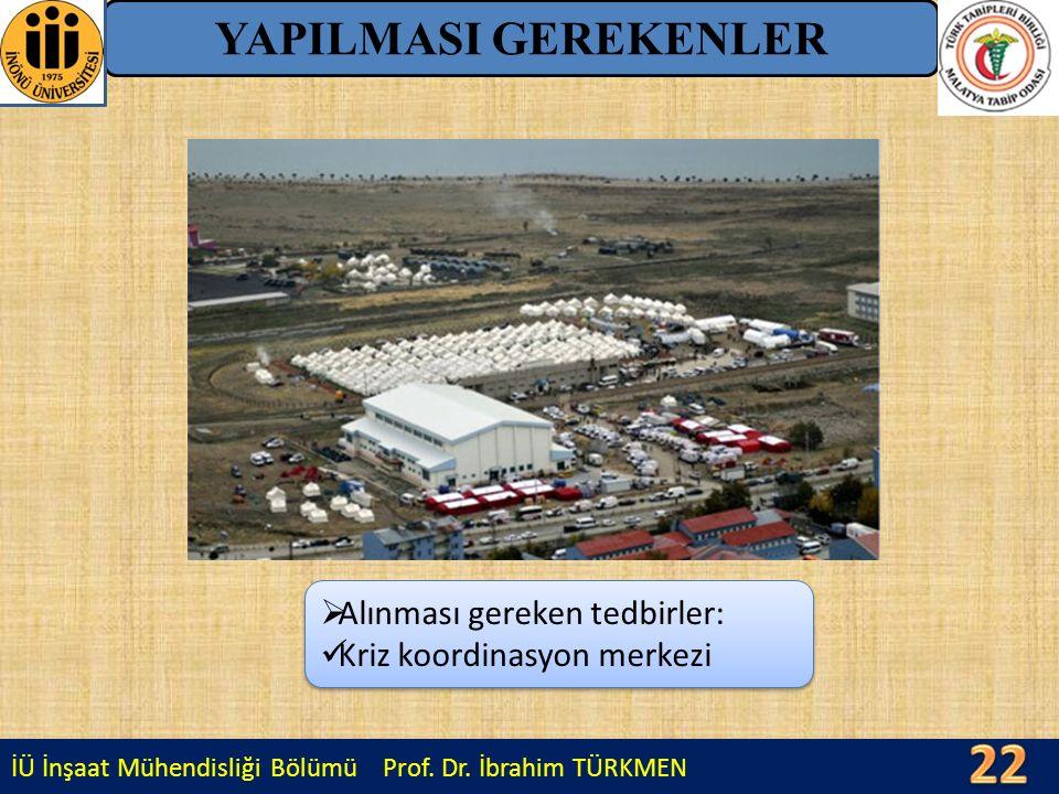 İÜ İnşaat Mühendisliği Bölümü Prof. Dr. İbrahim TÜRKMEN YAPILMASI GEREKENLER  Alınması gereken tedbirler: Kriz koordinasyon merkezi  Alınması gereke