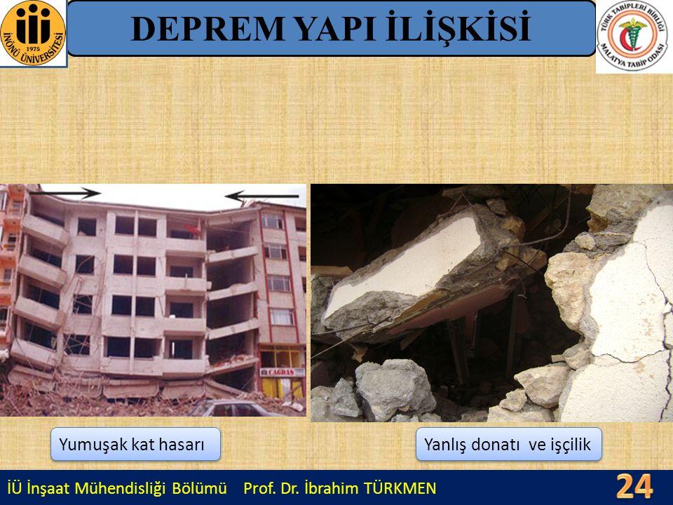 İÜ İnşaat Mühendisliği Bölümü Prof. Dr. İbrahim TÜRKMEN DEPREM YAPI İLİŞKİSİ Yanlış donatı ve işçilik Yumuşak kat hasarı