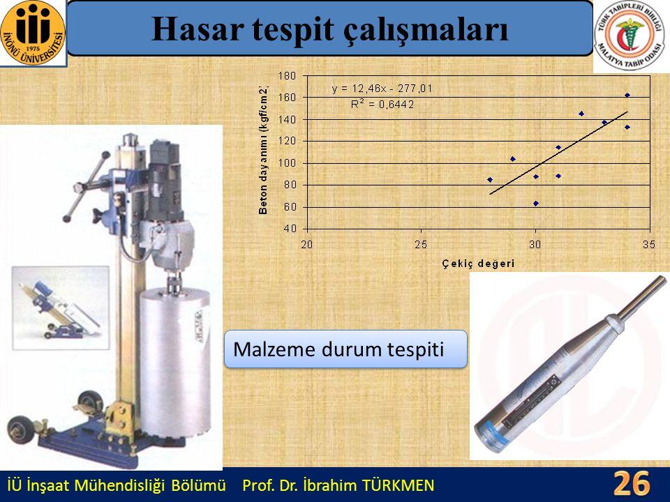 İÜ İnşaat Mühendisliği Bölümü Prof. Dr. İbrahim TÜRKMEN Hasar tespit çalışmaları Malzeme durum tespiti