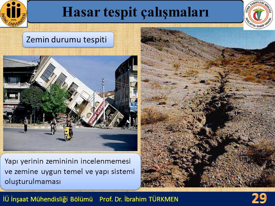 İÜ İnşaat Mühendisliği Bölümü Prof. Dr. İbrahim TÜRKMEN Hasar tespit çalışmaları Zemin durumu tespiti Yapı yerinin zemininin incelenmemesi ve zemine u