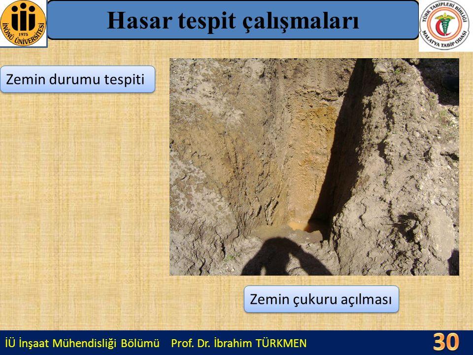 İÜ İnşaat Mühendisliği Bölümü Prof. Dr. İbrahim TÜRKMEN Hasar tespit çalışmaları Zemin durumu tespiti Zemin çukuru açılması