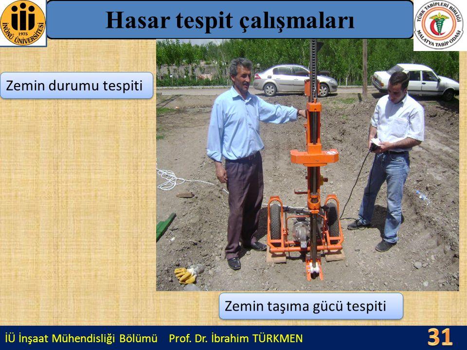 İÜ İnşaat Mühendisliği Bölümü Prof. Dr. İbrahim TÜRKMEN Hasar tespit çalışmaları Zemin durumu tespiti Zemin taşıma gücü tespiti