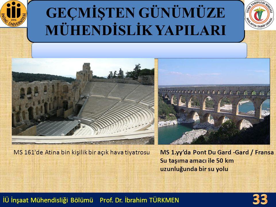 İÜ İnşaat Mühendisliği Bölümü Prof. Dr. İbrahim TÜRKMEN GEÇMİŞTEN GÜNÜMÜZE MÜHENDİSLİK YAPILARI MS 161'de Atina bin kişilik bir açık hava tiyatrosuMS