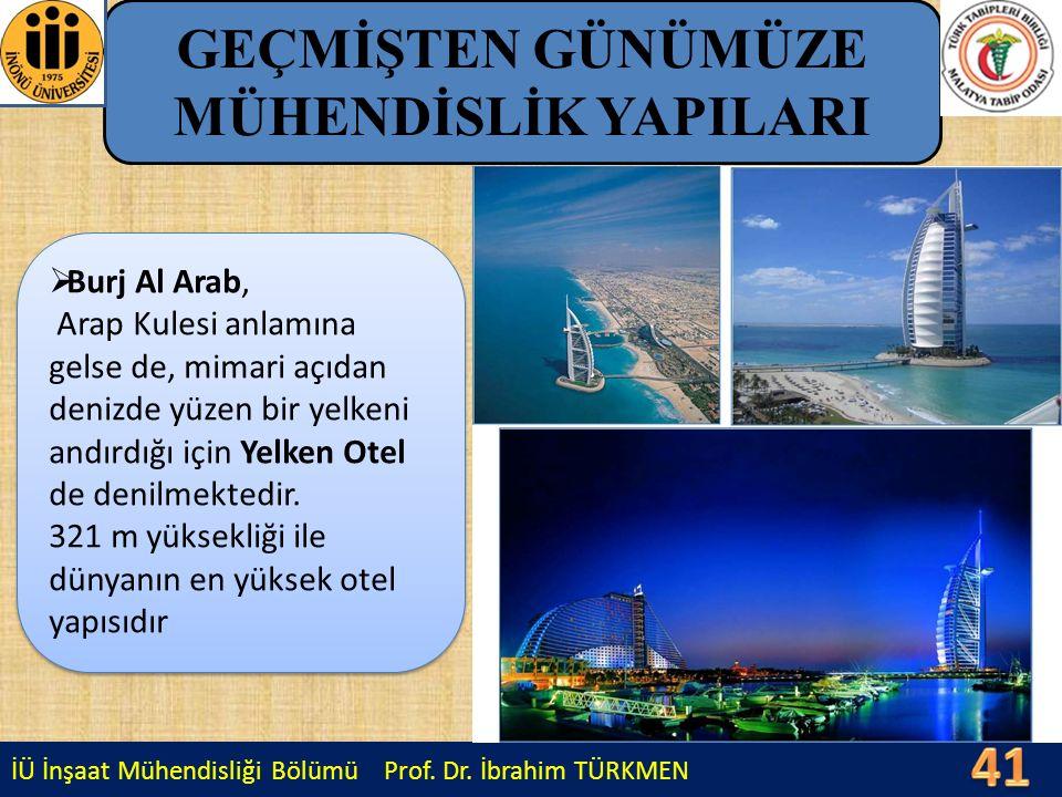 İÜ İnşaat Mühendisliği Bölümü Prof. Dr. İbrahim TÜRKMEN GEÇMİŞTEN GÜNÜMÜZE MÜHENDİSLİK YAPILARI  Burj Al Arab, Arap Kulesi anlamına gelse de, mimari