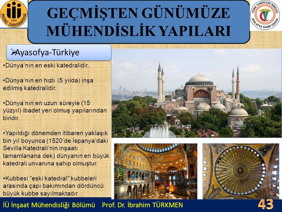 İÜ İnşaat Mühendisliği Bölümü Prof. Dr. İbrahim TÜRKMEN GEÇMİŞTEN GÜNÜMÜZE MÜHENDİSLİK YAPILARI  Ayasofya-Türkiye Dünya'nın en eski katedralidir. Dün