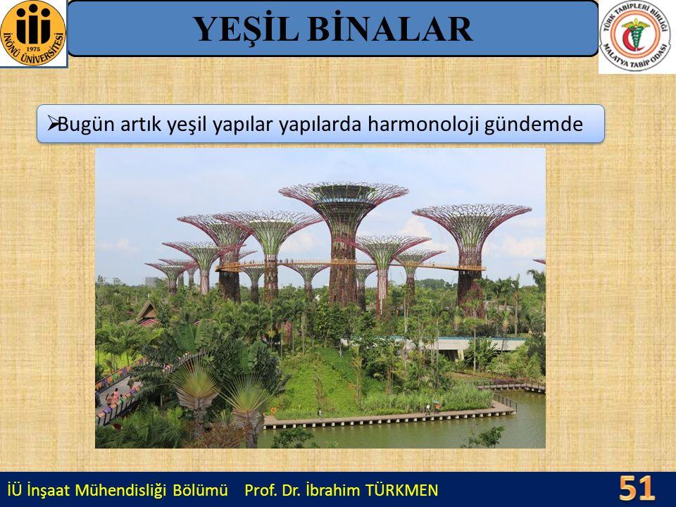 İÜ İnşaat Mühendisliği Bölümü Prof. Dr. İbrahim TÜRKMEN YEŞİL BİNALAR  Bugün artık yeşil yapılar yapılarda harmonoloji gündemde