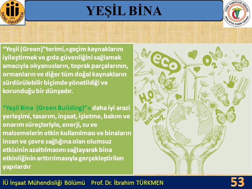 """İÜ İnşaat Mühendisliği Bölümü Prof. Dr. İbrahim TÜRKMEN YEŞİL BİNA """"Yeşil (Green)""""terimi,«geçim kaynaklarını iyileştirmek ve gıda güvenliğini sağlamak"""