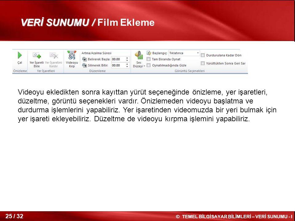 © TEMEL BİLGİSAYAR BİLİMLERİ – VERİ SUNUMU - I 24 / 32 VERİ SUNUMU / VERİ SUNUMU /Film Ekleme