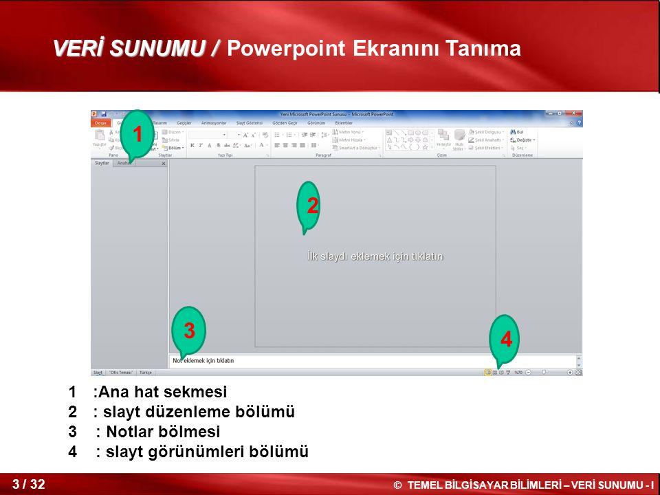 © TEMEL BİLGİSAYAR BİLİMLERİ – VERİ SUNUMU - I 2 / 32 İÇİNDEKİLER İÇİNDEKİLER Powerpoint Ekranını Tanıma Powerpoint görünümleri Bir Tasarım Şablonu Kullanarak Yeni Bir Sunuya Başlamak Sunuyu Kaydetme Yeni Bir Slayt Oluşturmak Otomatik Şekil Ekleme Otomatik Şekle 3-B Özelliği Uygulama Word Art Özelliği Uygulama Köprü Ekleme Ses Dosyası Eklemek Film Ekleme Slayt Görünümlerini Değiştirmek Slayt Silme,Kesme,Kopyalama ve Yapıştırma Slayt Geçişlerini Ayarlamak Slayt Metnine Canlandırma Efekti Uygulamak Metin Canlandırması Slayt Ayarlarını Değiştirmek VERİ SUNUMU