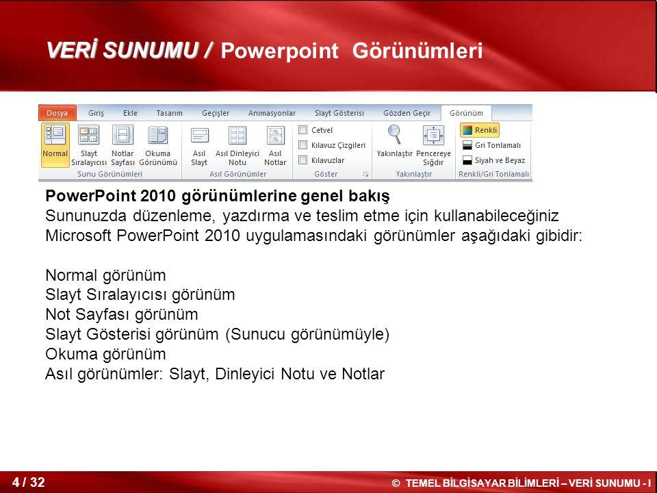 © TEMEL BİLGİSAYAR BİLİMLERİ – VERİ SUNUMU - I 3 / 32 Powerpoint Ekranını Tanıma 1 2 3 4 1:Ana hat sekmesi 2: slayt düzenleme bölümü 3 : Notlar bölmesi 4 : slayt görünümleri bölümü VERİ SUNUMU /