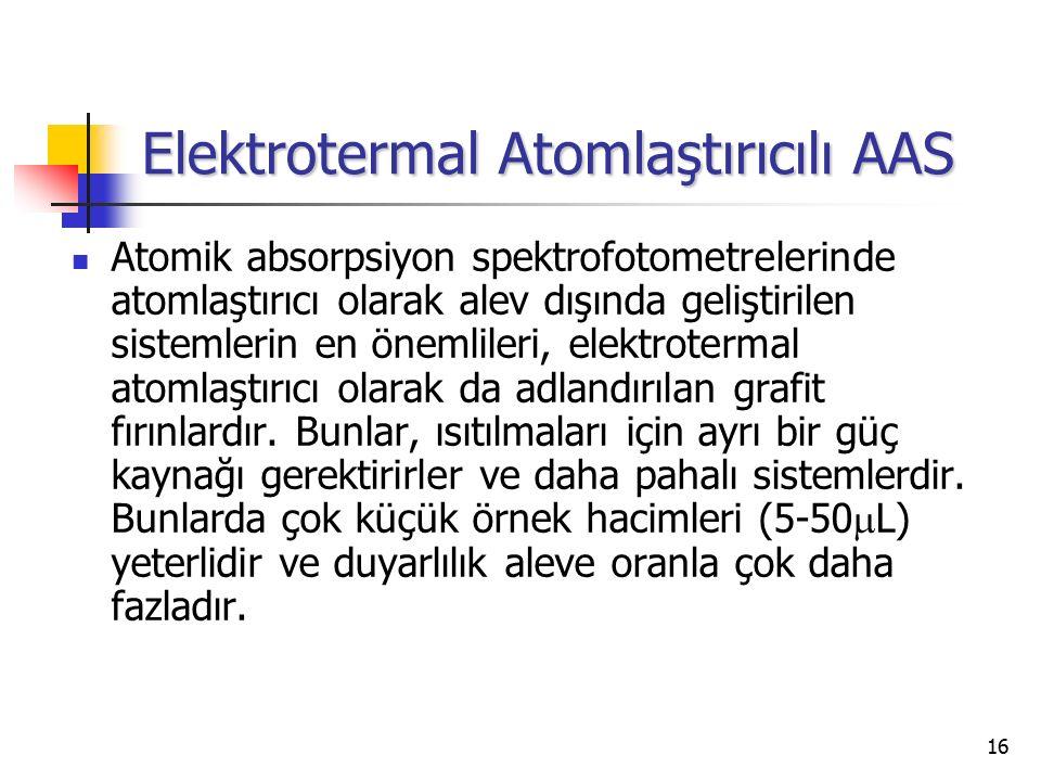 16 Elektrotermal Atomlaştırıcılı AAS Atomik absorpsiyon spektrofotometrelerinde atomlaştırıcı olarak alev dışında geliştirilen sistemlerin en önemlile