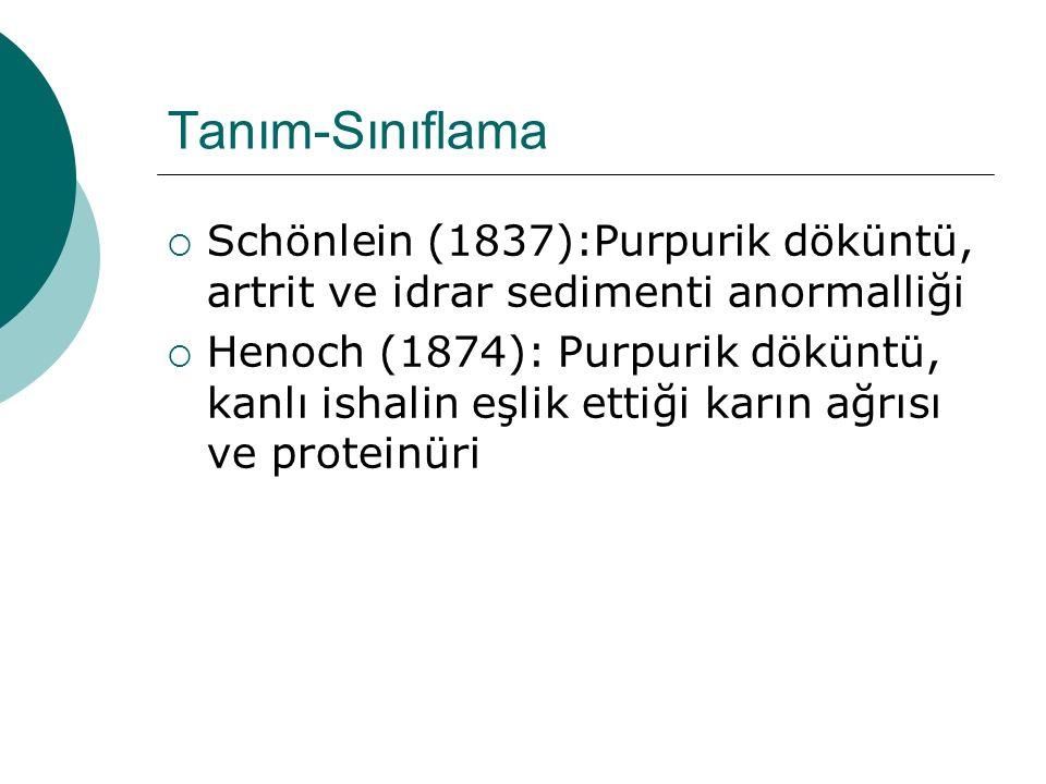 Tanım-Sınıflama  Schönlein (1837):Purpurik döküntü, artrit ve idrar sedimenti anormalliği  Henoch (1874): Purpurik döküntü, kanlı ishalin eşlik etti