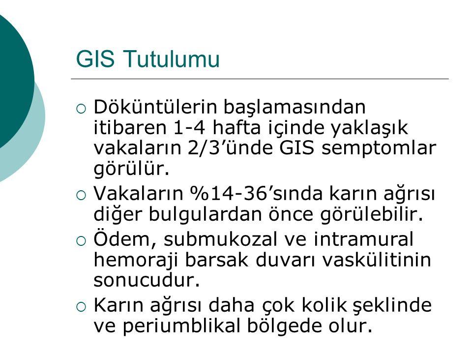 GIS Tutulumu  Döküntülerin başlamasından itibaren 1-4 hafta içinde yaklaşık vakaların 2/3'ünde GIS semptomlar görülür.  Vakaların %14-36'sında karın