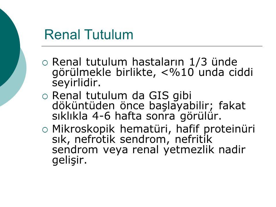 Renal Tutulum  Renal tutulum hastaların 1/3 ünde görülmekle birlikte, <%10 unda ciddi seyirlidir.  Renal tutulum da GIS gibi döküntüden önce başlaya