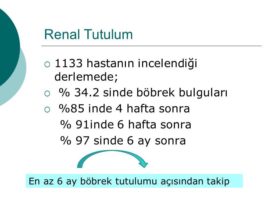 Renal Tutulum  1133 hastanın incelendiği derlemede;  % 34.2 sinde böbrek bulguları  %85 inde 4 hafta sonra % 91inde 6 hafta sonra % 97 sinde 6 ay s