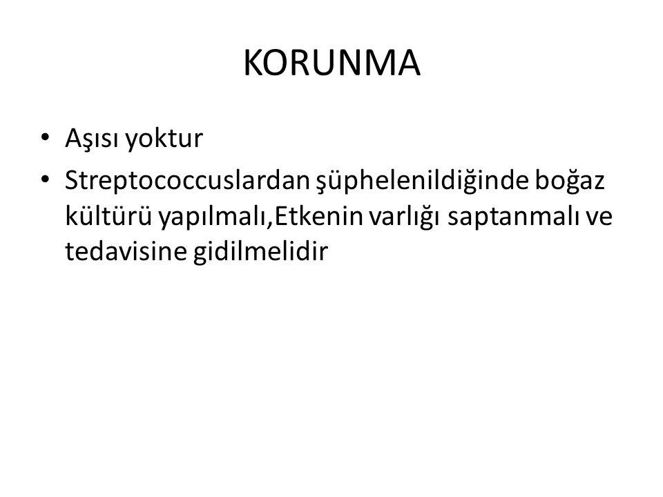 KORUNMA Aşısı yoktur Streptococcuslardan şüphelenildiğinde boğaz kültürü yapılmalı,Etkenin varlığı saptanmalı ve tedavisine gidilmelidir