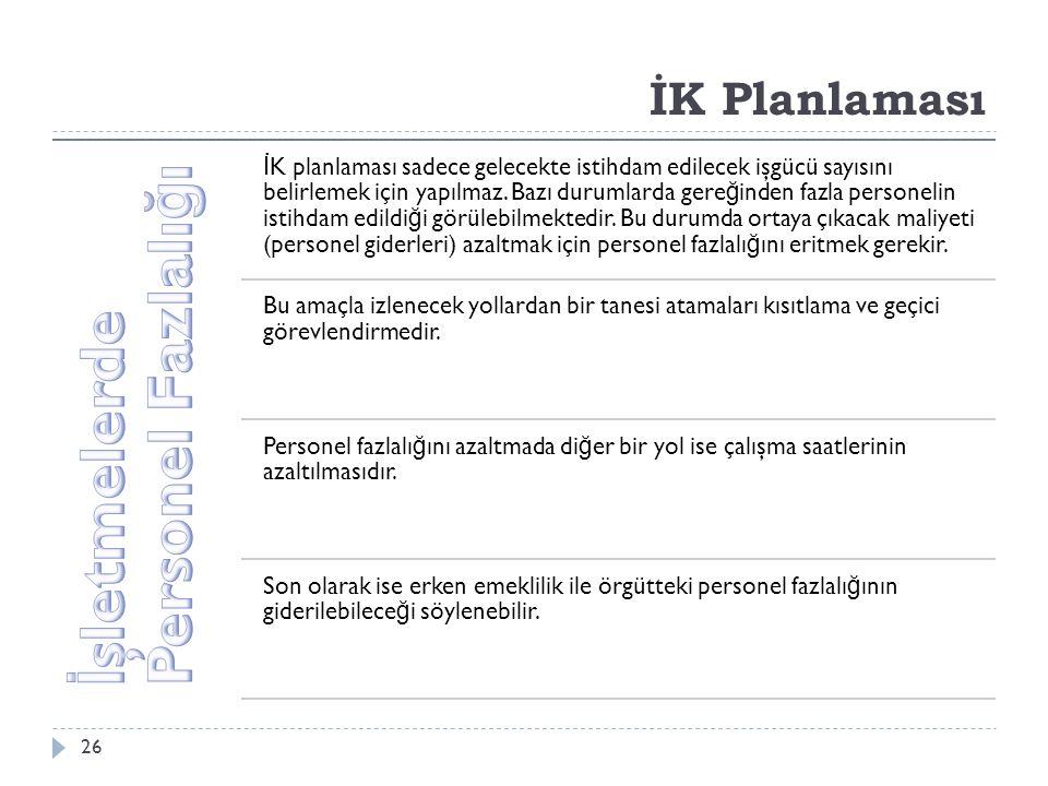 İK Planlaması İ K planlaması sadece gelecekte istihdam edilecek işgücü sayısını belirlemek için yapılmaz.