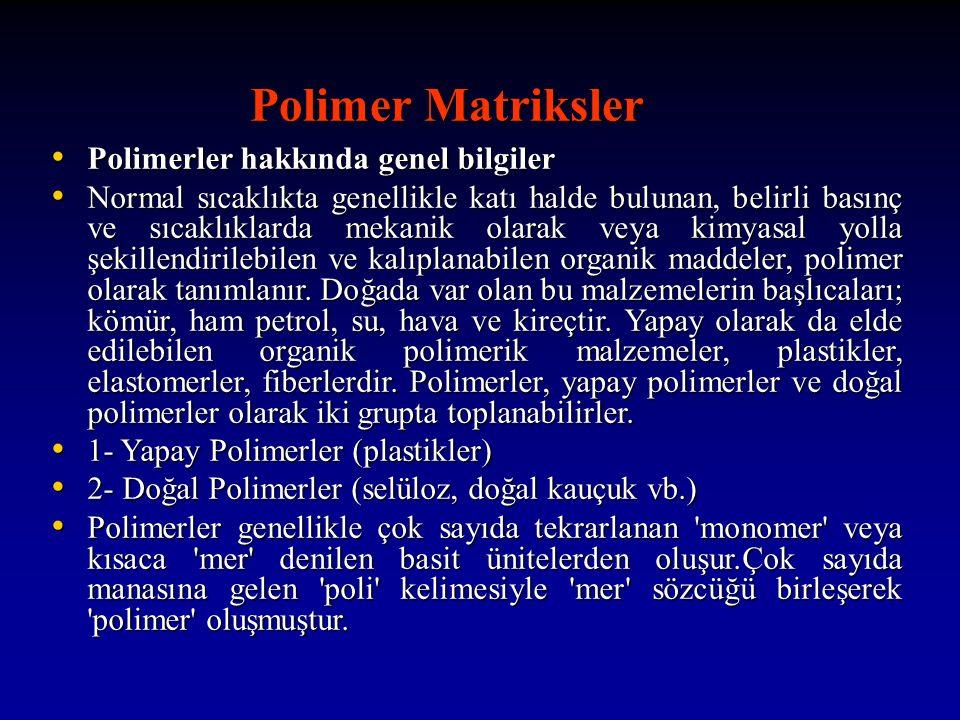 Polimer Matriksler Polimer Matriksler Polimerler hakkında genel bilgiler Polimerler hakkında genel bilgiler Normal sıcaklıkta genellikle katı halde bulunan, belirli basınç ve sıcaklıklarda mekanik olarak veya kimyasal yolla şekillendirilebilen ve kalıplanabilen organik maddeler, polimer olarak tanımlanır.