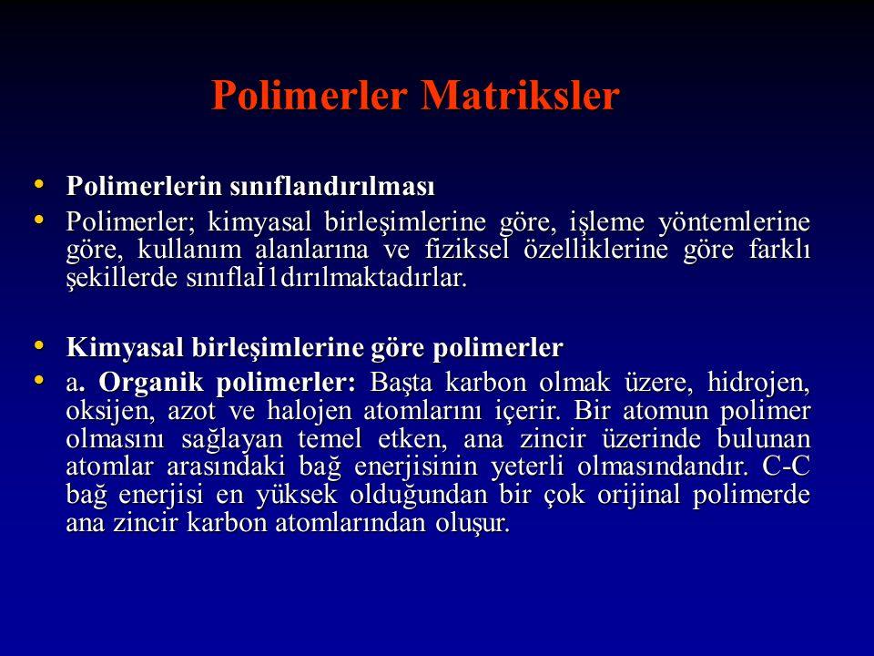 Polimerler Matriksler Polimerler Matriksler Polimerlerin sınıflandırılması Polimerlerin sınıflandırılması Polimerler; kimyasal birleşimlerine göre, işleme yöntemlerine göre, kullanım alanlarına ve fiziksel özelliklerine göre farklı şekillerde sınıflaİ1dırılmaktadırlar.