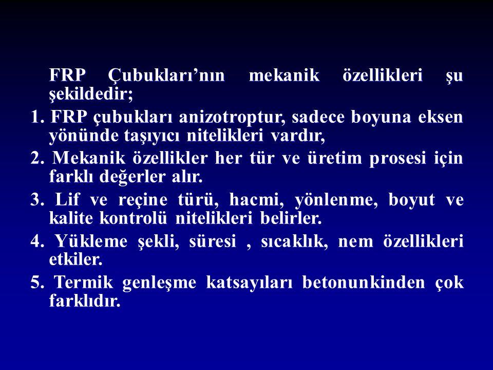 FRP Çubukları'nın mekanik özellikleri şu şekildedir; 1.