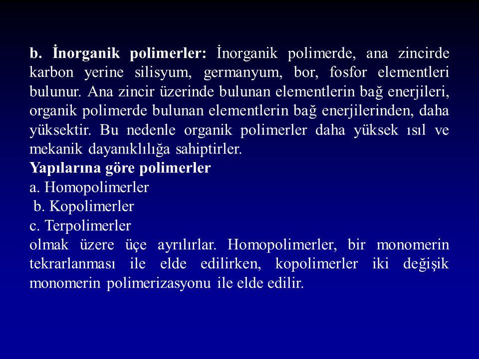 b. İnorganik polimerler: İnorganik polimerde, ana zincirde karbon yerine silisyum, germanyum, bor, fosfor elementleri bulunur. Ana zincir üzerinde bul