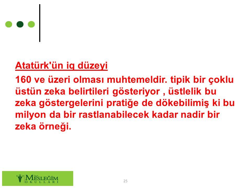 Atatürk ün iq düzeyi 160 ve üzeri olması muhtemeldir.