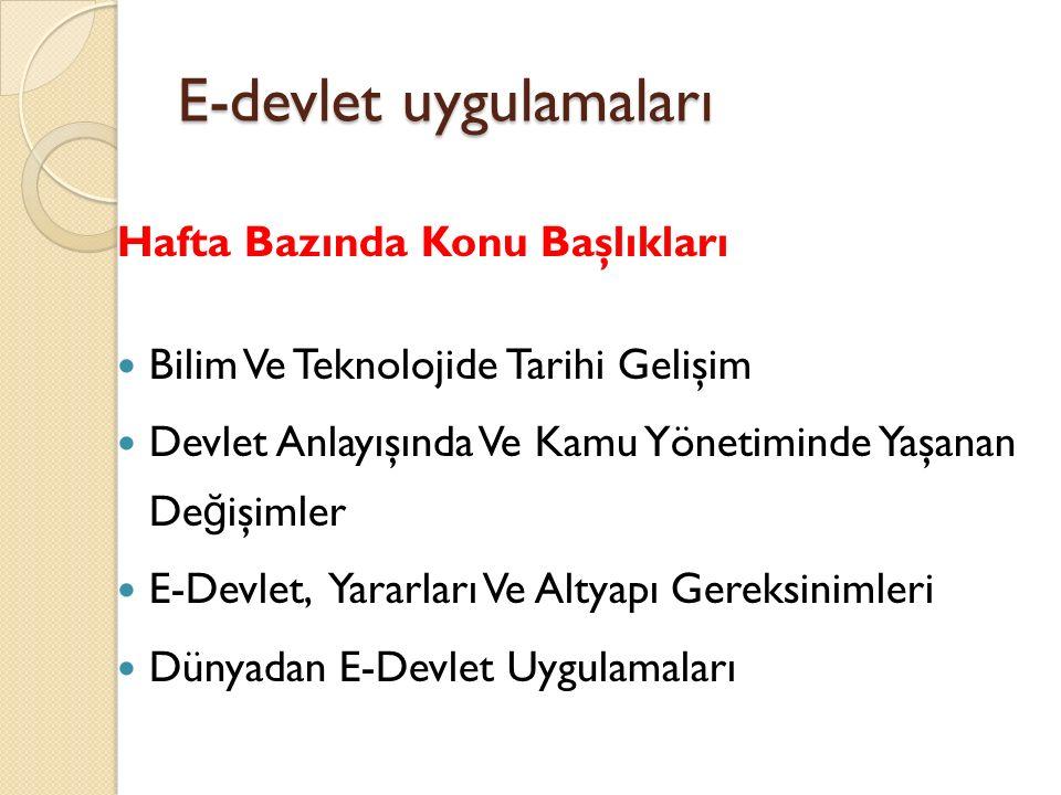 E-devlet uygulamaları Hafta Bazında Konu Başlıkları Bilgi Toplumu Ve Türkiye Türkiye'de E-Devlet Uygulamaları Bilgi Toplumu Ölçümlemeleri Bilgi Toplumu Eylem Planı Ve Sakarya Üniversitesi
