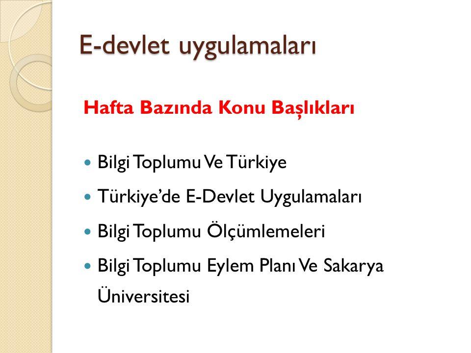 E-devlet uygulamaları Hafta Bazında Konu Başlıkları Bilgi Toplumu Ve Türkiye Türkiye'de E-Devlet Uygulamaları Bilgi Toplumu Ölçümlemeleri Bilgi Toplum