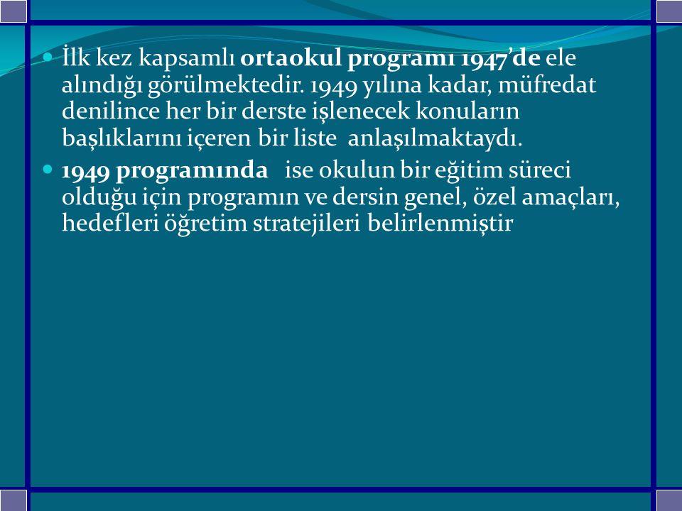 İlk kez kapsamlı ortaokul programı 1947'de ele alındığı görülmektedir. 1949 yılına kadar, müfredat denilince her bir derste işlenecek konuların başlık