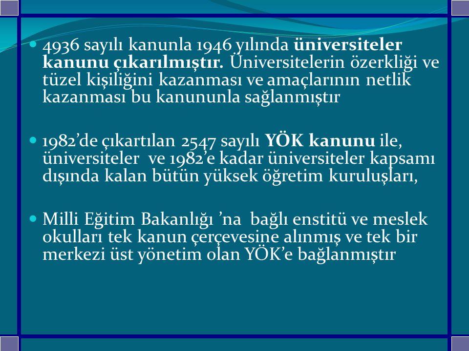 4936 sayılı kanunla 1946 yılında üniversiteler kanunu çıkarılmıştır. Üniversitelerin özerkliği ve tüzel kişiliğini kazanması ve amaçlarının netlik kaz