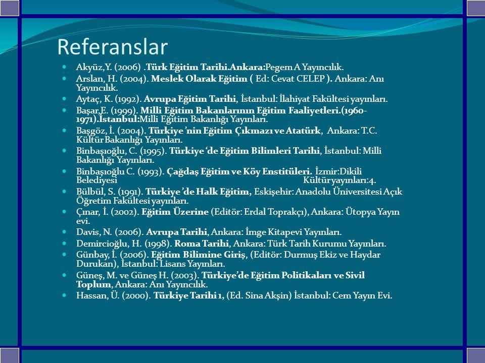Referanslar Akyüz,Y. (2006).Türk Eğitim Tarihi.Ankara:Pegem A Yayıncılık. Arslan, H. (2004). Meslek Olarak Eğitim ( Ed: Cevat CELEP ). Ankara: Anı Yay