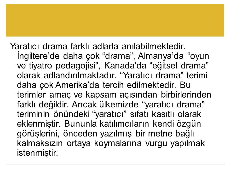 """Yaratıcı drama farklı adlarla anılabilmektedir. İngiltere'de daha çok """"drama"""", Almanya'da """"oyun ve tiyatro pedagojisi"""", Kanada'da """"eğitsel drama"""" olar"""