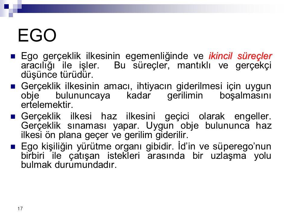 18 Süperego: Temel güdüleri ifade ederken, birey toplumun kural ve değerlerinin dışına çıkabilir.