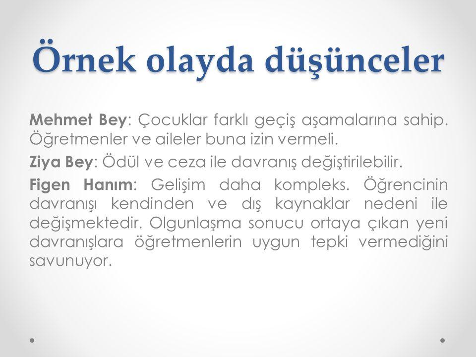 Örnek olayda düşünceler Mehmet Bey : Çocuklar farklı geçiş aşamalarına sahip.