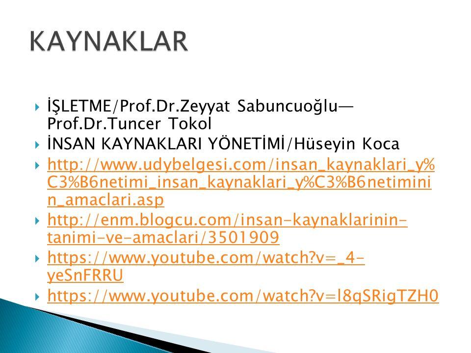  İŞLETME/Prof.Dr.Zeyyat Sabuncuoğlu— Prof.Dr.Tuncer Tokol  İNSAN KAYNAKLARI YÖNETİMİ/Hüseyin Koca  http://www.udybelgesi.com/insan_kaynaklari_y% C3