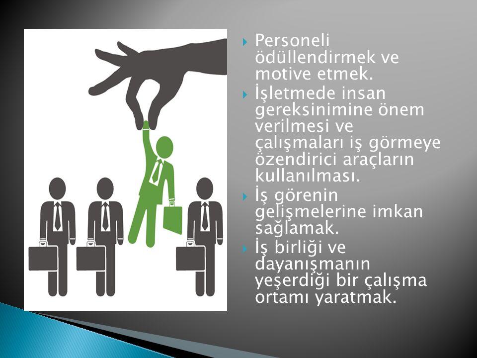  Personeli ödüllendirmek ve motive etmek.  İşletmede insan gereksinimine önem verilmesi ve çalışmaları iş görmeye özendirici araçların kullanılması.