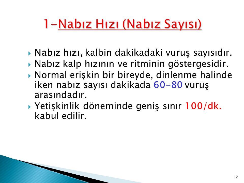  Yaş ◦ Yenidoğan:120-160/dk.◦ 6-12 Yaş : 75-100/dk ◦ Yetişkin : 60-100/dk.